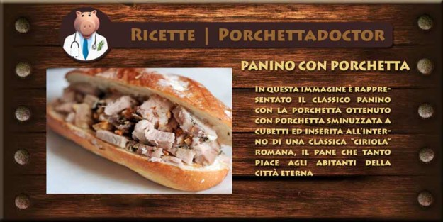 """In questa immagine è rappresentato il classico panino con la porchetta ottenuto con porchetta sminuzzata a cubetti ed inserita all'interno di una classica """"ciriola"""" romana, il pane che tanto piace agli abitanti della città eterna"""